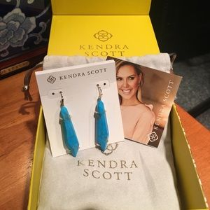 Kendra Scott Gray Gold Aqua Howlite Drop Earrings
